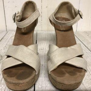Toms Sienna Espadrille Cork Wedge Sandals Size 9.5